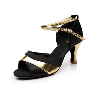Dames Latin dansschoenen / Salsa dansschoenen / Ballroom Satijn Sandalen Gesp Speciale hak Aanpasbaar Dansschoenen Rood / Zilver / Goud