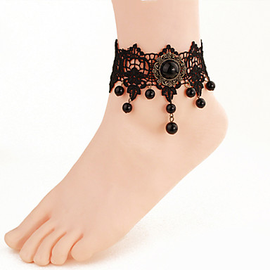 Women Fashion Body Jewelry Summer Beach Gothic Style Charm Vintage Lace Retro Pearl Anklets