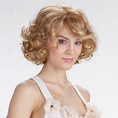 Syntetiske parykker Dame Krøllet Blond Lagvis frisyre Syntetisk hår Naturlig hårlinje Blond Parykk Kort Lokkløs Blond