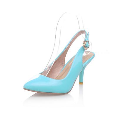 Mujer Zapatos Cuero Patentado Primavera / Verano Confort Tacones Paseo Tacón Kitten Dedo Puntiagudo Hebilla Verde / Azul / Rosa / Fiesta y Noche / Fiesta y Noche
