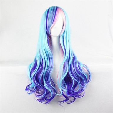Femme Perruque Synthétique Sans bonnet Ondulation naturelle Bleu Perruque Halloween Perruque de carnaval Perruque de Cosplay Perruque