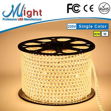 Mlight 10 M 72 leds/m 5050 SMD 웜 화이트/화이트 방수/컷테이블 6 W 유연한 LED 조명 스트립 AC110-220 V
