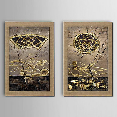 obraz olejny dekoracji abstrakcyjny krajobraz ręcznie malowane naturalną pościel z rozciągniętej ramie - zestaw 2