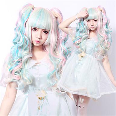 Perücken / Synthetische Perücken Wellen Asymmetrischer Haarschnitt Natürlicher Haaransatz Blau Damen Kappenlos Cosplay Perücke Lang