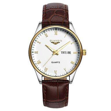 Herren Armbanduhr Quartz LED / Kalender / Wasserdicht Leder Band Schwarz / Braun Marke
