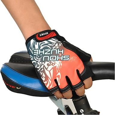 luvas sem dedos de ciclismo azul, preto, cinza, vermelho