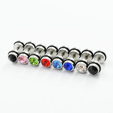 Férfi Női Rozsdamentes acél Hamis gyémánt Beszúrós fülbevalók - Luxus Színes Kétoldalú Kék Rózsaszín Átlátszó Fülbevaló Kompatibilitás