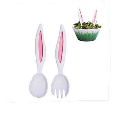 coelho garfos ouvidos garfo colher de sopa de frutas colher conjunto de talheres de louça salada para crianças de 2 cor aleatória