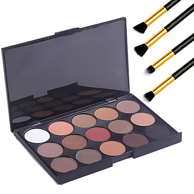 15 Colors  Eyeshadow Palett Professional Warm Makeup Nude Eyeshadow Matte Shimmer Palette Cosmetic+4PCS Pencil Makeup Brush