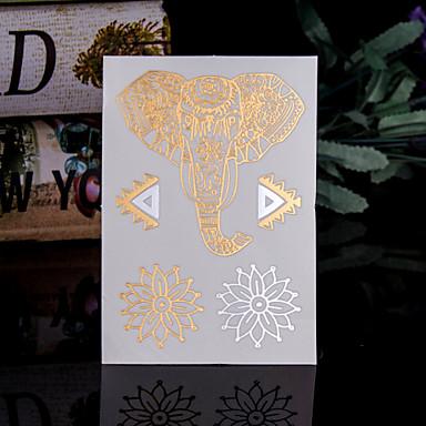 Seria zwierzęca Naklejki z tatuażem - Damskie/Męskie/Dorosły/Dla nastolatków - Elephant - 14*9*0.2cm - Paper - Złoty/Wielokolorowy - 4 (