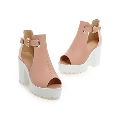 Для женщин Обувь Искусственный мех Весна Лето Осень На толстом каблуке Пряжки Назначение Для праздника Белый Синий Розовый