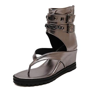 Teletalpú - Parafa - Női cipő - Szandál - Alkalmi - Bőrutánzat - Fekete / Ezüst