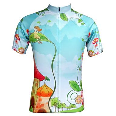 JESOCYCLING 여성용 짧은 소매 싸이클 져지 카툰 자전거 져지, 빠른 드라이, 자외선 방지, 통기성