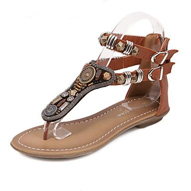 Kadın's Ayakkabı Yapay Deri Yaz Rahat / Gladyatör Düz Taban için Boncuklama Siyah / Kahverengi