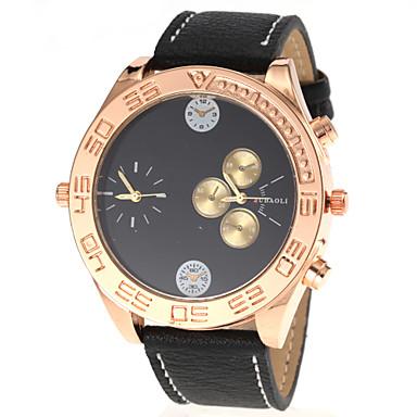 JUBAOLI Męskie Kwarcowy Zegarek na nadgarstek Dwie strefy czasowe PU Pasmo Urok Czarny Biały Czerwony Pomarańczowy Brązowy żółty