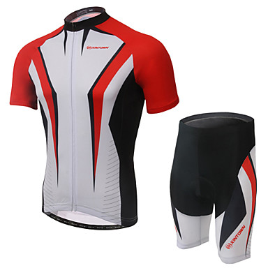 Women's Short Sleeve Cycling Jersey with Shorts - Gray / Red / Green Bike Shorts / Jersey / Clothing Suit, 3D Pad, Wearable, Breathable