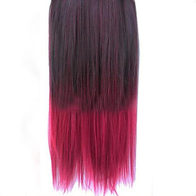 à double couleur droites extensions de cheveux épais synthétique clip sur les cheveux
