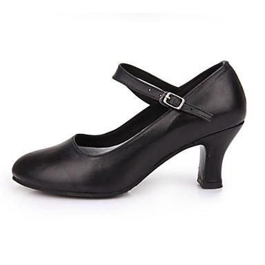 Women's Modern Faux Leather Sandal Performance Buckle Cuban Heel Black Red 2