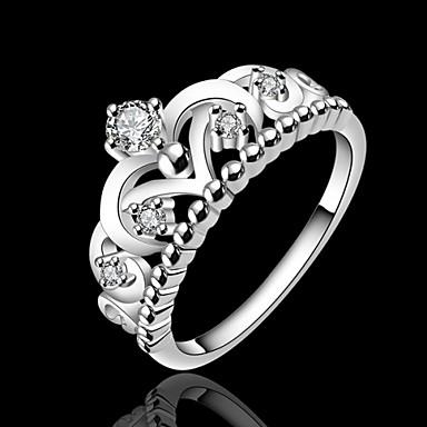 billige Motering-Dame Statement Ring / Princess Crown Ring Sølv Sølvplett damer / Mote Bryllup / Fest / Daglig Kostyme smykker / Strass
