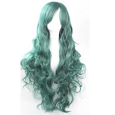 Искусственные волосы парики Кудрявый Без шапочки-основы Парики для косплей Зеленый
