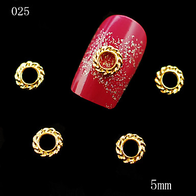 025 10PCS 5mm 3D Golden Round Shape Alloy Nail Decoration DIY Nail Jewelry Nail Stickers Tip Studs Decor