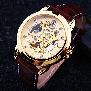 Herrn Automatikaufzug Mechanische Uhr Armbanduhr Wasserdicht Transparentes Ziffernblatt Leder Band Luxus Braun