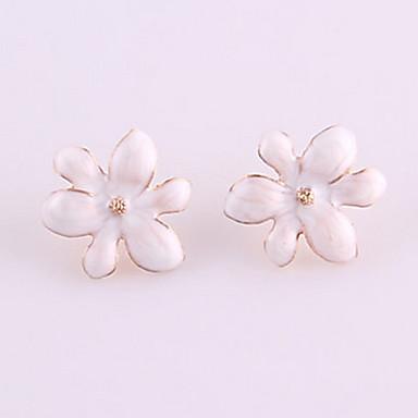 Women's Elegent Flower Enameled Stud Earrings Classical Feminine Style
