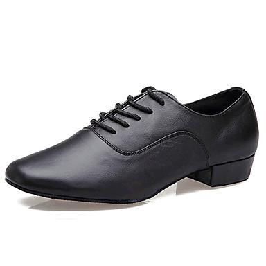 Men's Modern Ballroom Leather Oxford Practice Beginner Professional Indoor Lace-up Low Heel Black Non Customizable