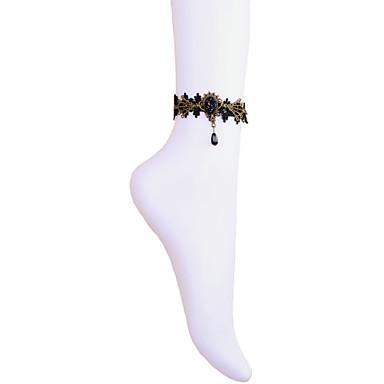 Vintage Crown Gem Drip Pearl Anklet Classical Feminine Style