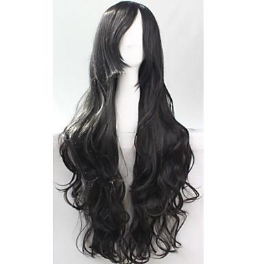жен. Парики из искусственных волос Без шапочки-основы Черный Парики для косплей Карнавальные парики