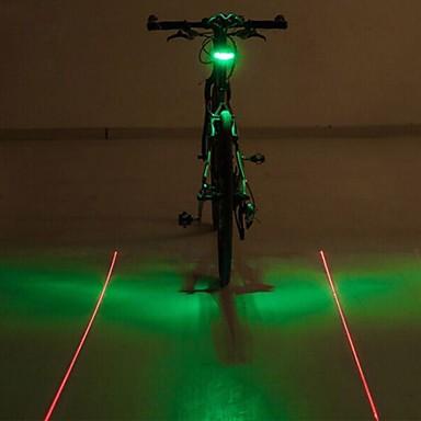 Bike Lights LED Light Bulbs Rear Bike Light Laser LED - Cycling Color-Changing Warning Laser LED Light AAA 400 Lumens Battery Cycling/Bike