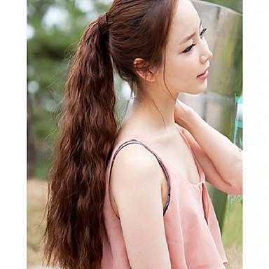 Przedłużenie micro ring Falowana Kucyki Kawałek włosów Przedłużanie włosów Czarny Ciemnobrązowy #27 #30 #33
