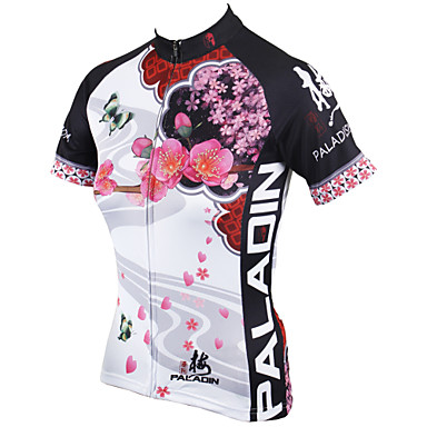 ILPALADINO Women's Short Sleeve Cycling Jersey - White Floral / Botanical Bike Jersey, Quick Dry, Ultraviolet Resistant, Breathable