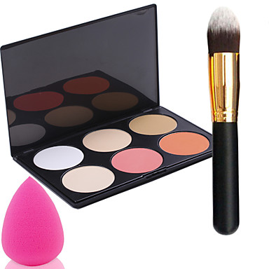 про партийные 6 цветов сталкиваются загара порошок макияж Палитра + порошок щеткой + пуховкой