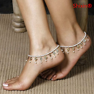Crystal Pearl Imitation Pearl Anklet - Women's White European Beaded Pearl Imitation Pearl Anklet For Daily Casual