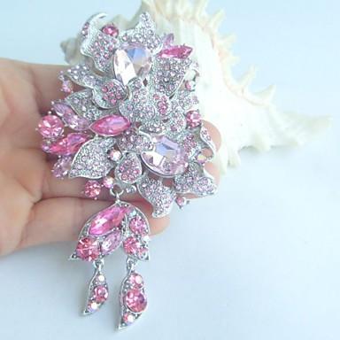 kadın aksesuarları gümüş tonlu pembe yapay elmas kristal çiçek broş art deco broş buket kadın takı