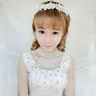 Bride's Flower Pearl Forehead Wedding Headdress Hair Accessories 1 PC