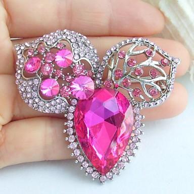 2.36 ιντσών διακοσμήσεις ασήμι-Ήχος ροζ στρας κρύσταλλο λουλούδι κρεμαστό κόσμημα καρφίτσα τέχνης