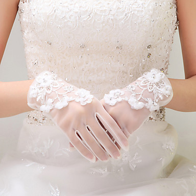 Tulle Wrist Length Glove Bridal Gloves With Beading Appliques