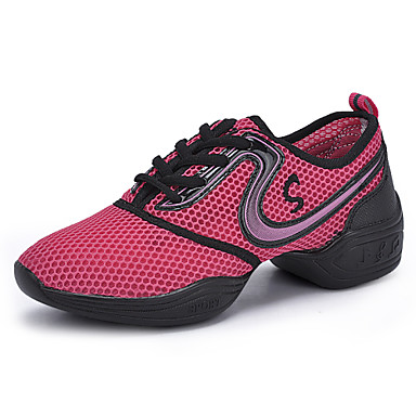 Для женщин Танцевальные кроссовки Дерматин С раздельной подошвой Для закрытой площадки Шнуровка На толстом каблуке Черный Розовый Желтый