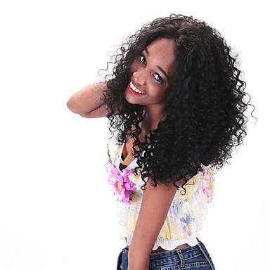 Ekte hår Blonde Forside Parykk Krøllet 130% tetthet Naturlig hårlinje / Afroamerikansk parykk / 100 % håndknyttet Dame Kort / Medium / Lang Blondeparykker med menneskehår