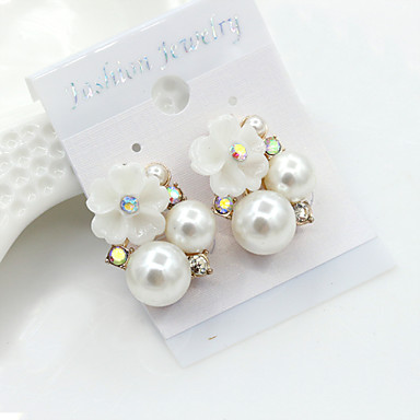 Stud Earrings Crystal Pearl Imitation Pearl Rhinestone Gold Plated 18K gold Simulated Diamond Fashion Gold Jewelry 2pcs