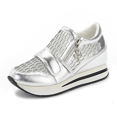 Damen Schuhe Leder Sommer Herbst Komfort Sandalen Walking Flacher Absatz Keilabsatz Runde Zehe Reißverschluss Ausgehöhlt Für Normal Kleid