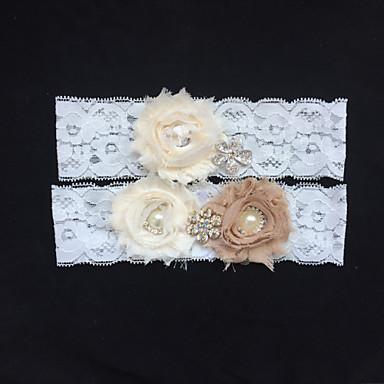 Δαντέλα Γάμος Garter - Τεχνητό διαμάντι Απομίμηση Πέρλας Λουλούδι