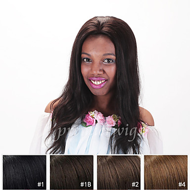 billige Blondeparykker med menneskehår-Ekte hår Helblonde Parykk Rett 120% tetthet 100 % håndknyttet Afroamerikansk parykk Naturlig hårlinje Kort Medium Lang Dame