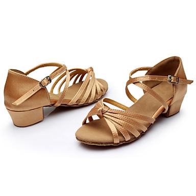 preiswerte Samba Tanzschuhe-Damen Tanzschuhe Seide Schuhe für den lateinamerikanischen Tanz / Ballsaal Schnalle / Band-Bindung Sandalen Blockabsatz Maßfertigung Silber / Braun / Gold / Wildleder / Innen / Praxis / Professionell