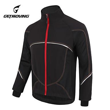 GETMOVING Cycling Jacket Unisex Bike Jersey Winter Fleece Jacket Top Winter Fleece Bike Wear Waterproof Anatomic Design Fleece Lining