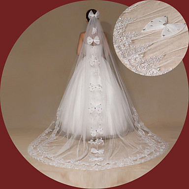 Menyasszonyi fátyol Egykapcsos Katedrális fátylak Csipke szegély Tüll Csipke Elefántcsontszín
