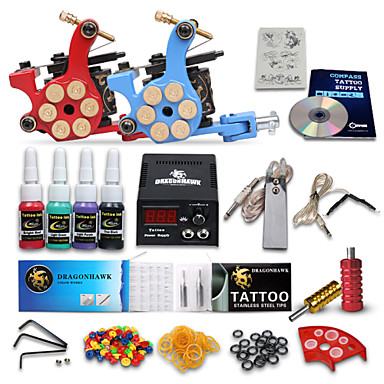 dragonhawk® πλήρες κιτ τατουάζ 2 μηχανή 4 έγχρωμες μελάνες
