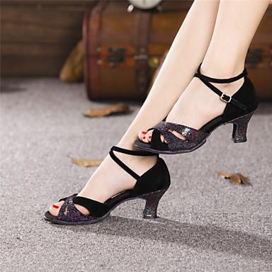 Kadın's Latin Dans Ayakkabıları Süet Topuklular Toka Küba Topuk Kişiselletirilmemiş Dans Ayakkabıları Siyah / Mavi / Deri / Egzersiz